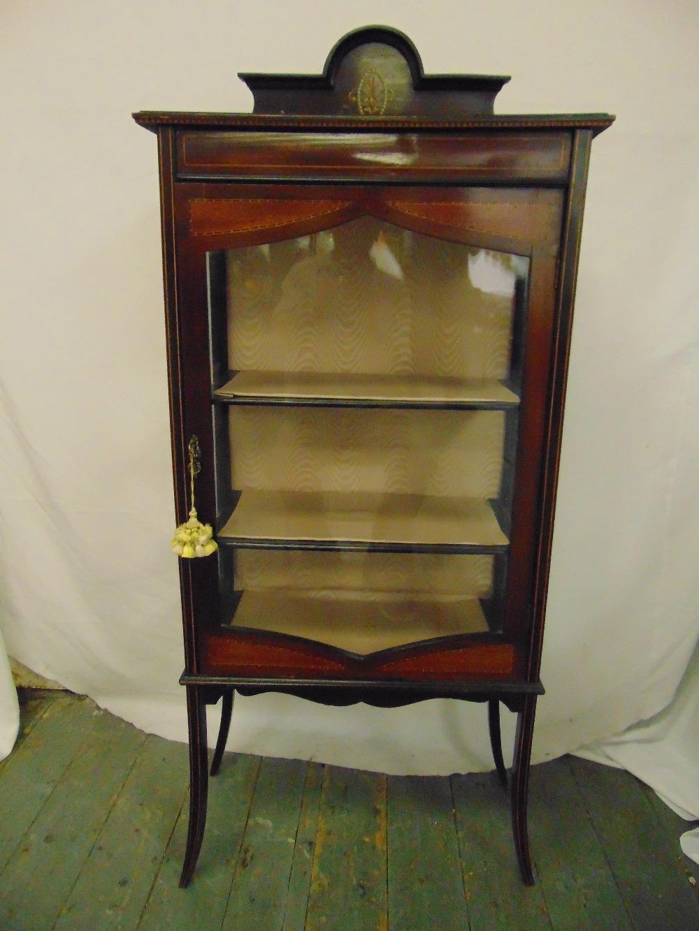 Lot 17 - An Edwardian rectangular mahogany glazed display cabinet on four outswept legs