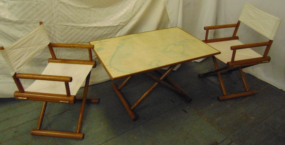 Lot 20 - A rectangular 1970s map table with matching canvas directors chairs, A/F