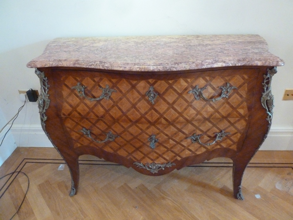 Lot 9 - A French Louis XVI style kingswood chest of drawers with detachable marble top with gilded metal