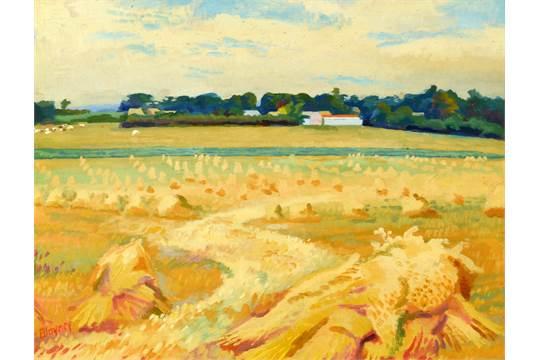 PETER BLAYNEY Harvest landscape Oil on board Signed 34 x 44 5cm