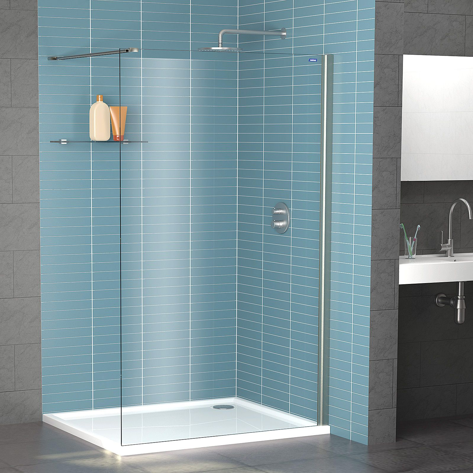 Lot 21 - Shower Lux - Legacy Wet Room Panel - 1900x900 - Platnium Silver - New and Boxed.
