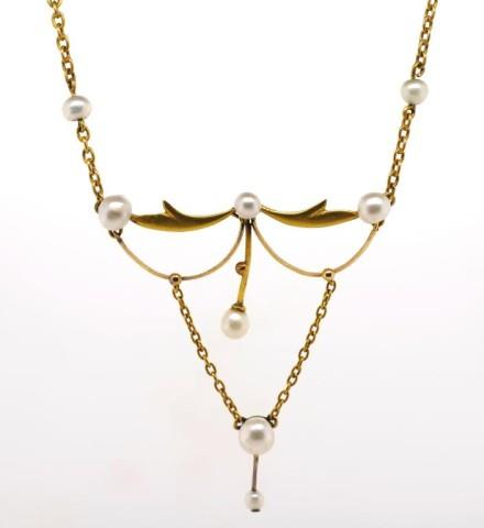 Lot 4 - Antique Australian gold and pearl necklace