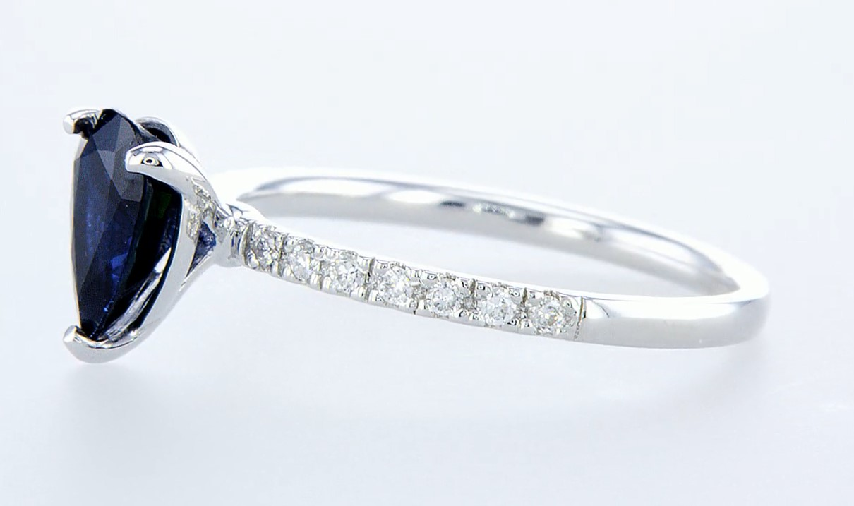 14 kt. White gold - Ring - 1.29 ct Sapphire - Diamonds - Image 3 of 6