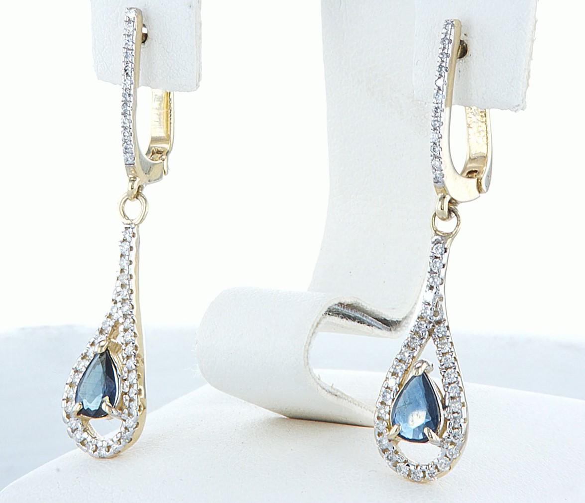 14 kt. White gold - Earrings - 1.20 ct Sapphire - Diamonds - Image 4 of 5