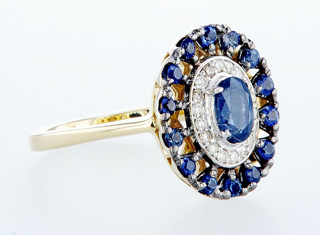 14 kt. White &Yellow gold - Ring - 1.25 ct Sapphire - Diamonds - Image 7 of 7