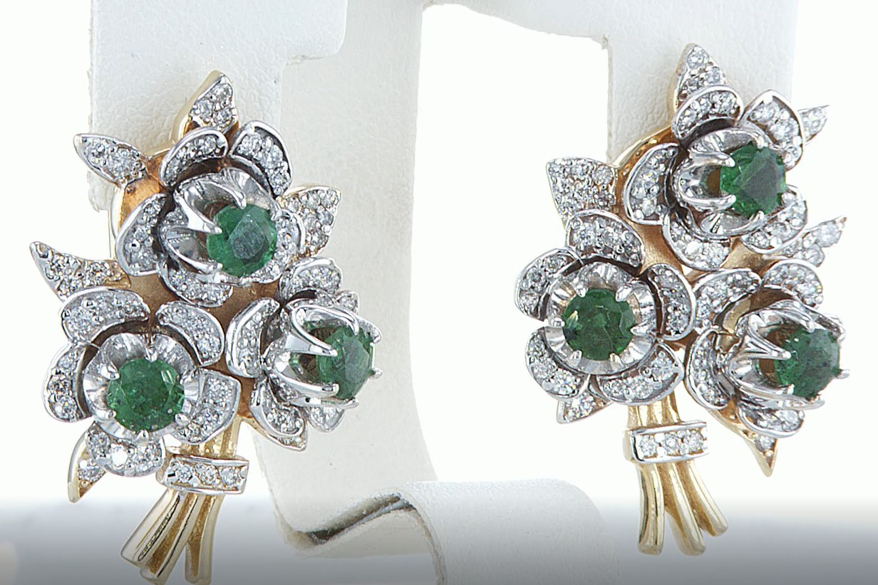 14 kt. Yellow gold - Earrings - 3.10 ct Emerald - Diamonds - Image 3 of 5