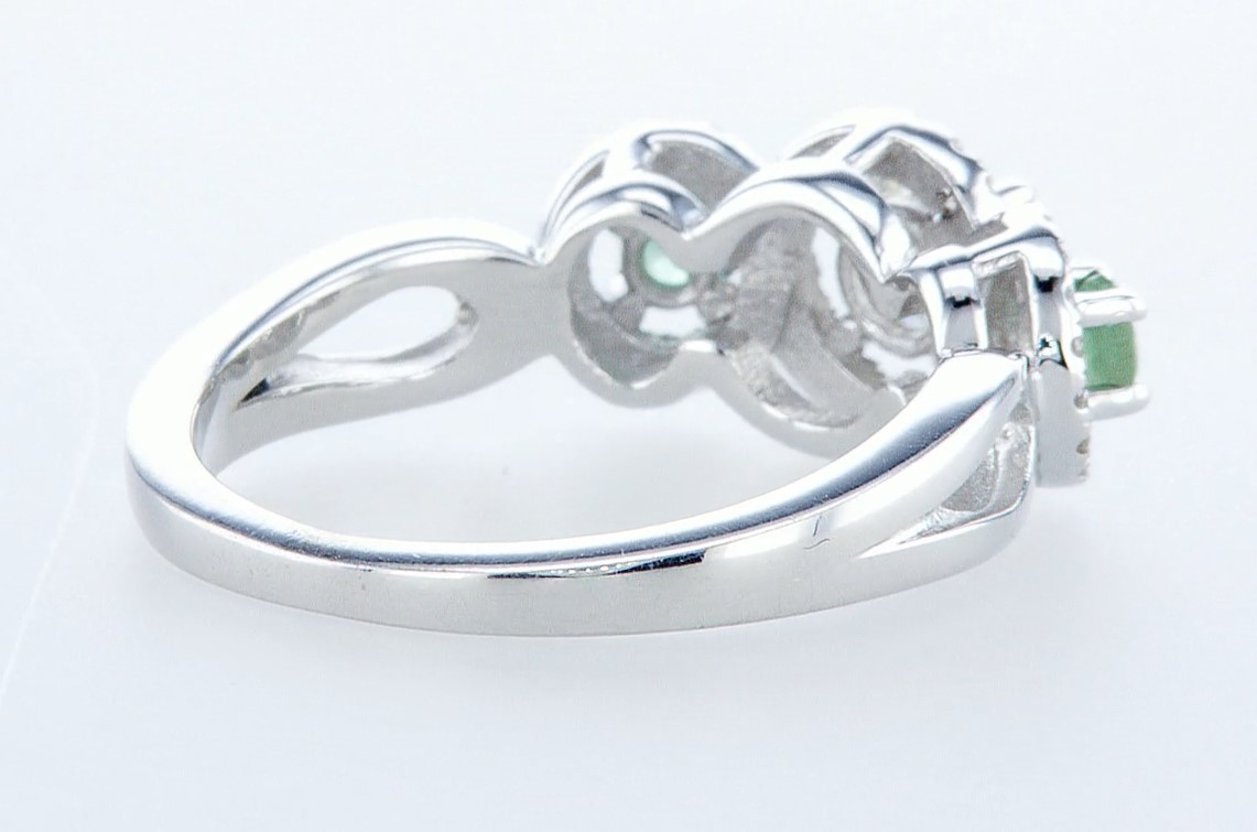 14 kt. White gold - Ring - 0.97 ct Emerald - Diamonds - Image 6 of 7