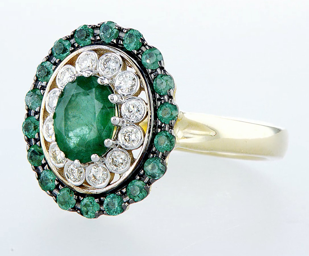 14 kt. White &Yellow gold - Ring - 2.14 ct Emerald - Diamonds - Image 3 of 6