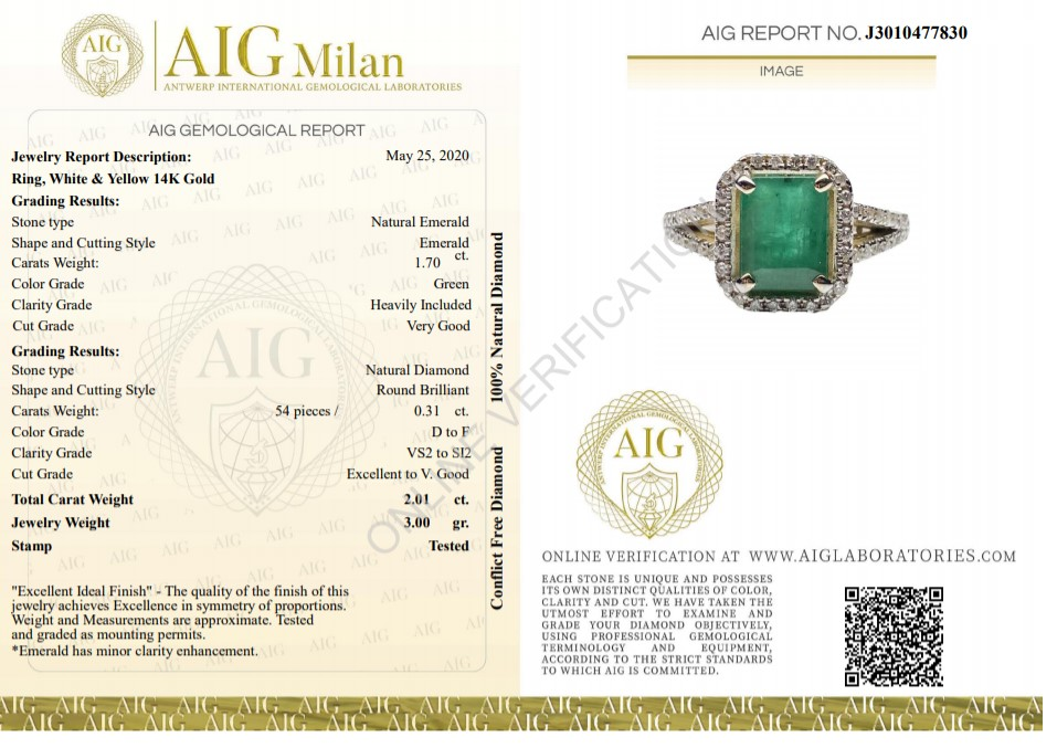14 kt. White gold, Yellow gold - Ring - 2.01 ct Emerald - Diamonds - Image 2 of 7