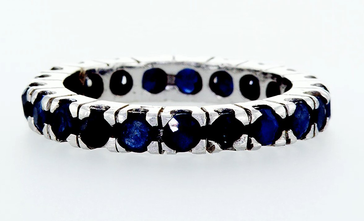 14 kt. White gold -Eternity Ring - 0.90 ct Sapphire - Image 3 of 4