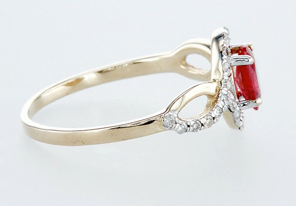 14 kt. White gold, Yellow gold - Ring - 0.59 ct Ruby - Diamonds - Image 5 of 6