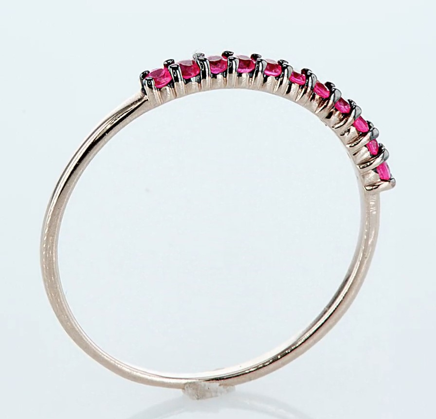 14 kt. Pink gold - Ring - 0.23 ct Ruby - Diamonds - Image 6 of 6