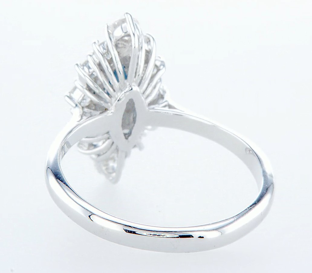 18 kt. White gold - Ring - 1.22 ct Sapphire - Diamonds - Image 5 of 7
