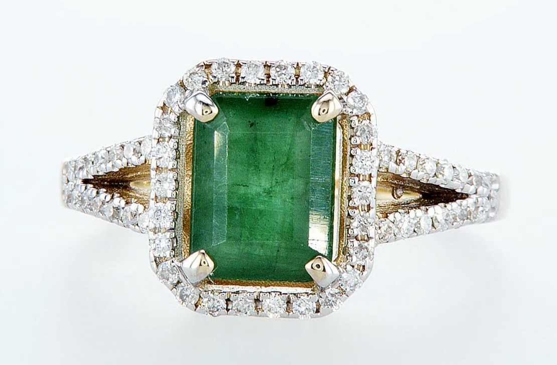 14 kt. White gold, Yellow gold - Ring - 2.01 ct Emerald - Diamonds