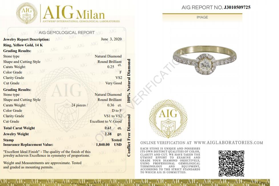 14 kt. Yellow gold - Ring - 0.61 ct Diamond - Diamonds - Image 2 of 6