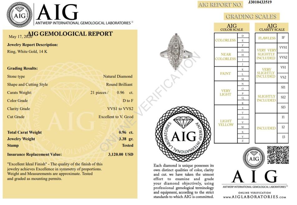 14 kt. White gold - Ring - 0.96 ct Diamond - Diamonds - Image 2 of 6