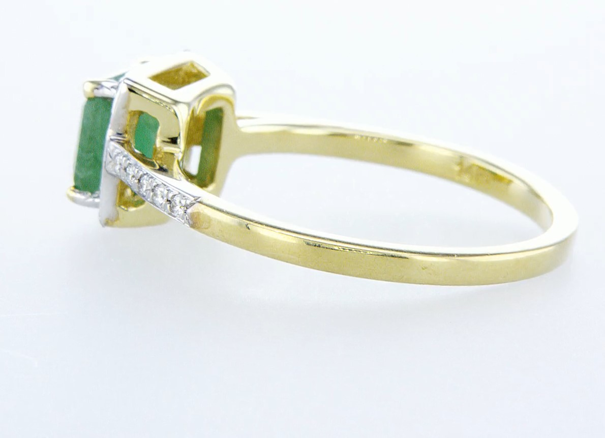 14 kt. White gold - Ring - 1.44 ct Emerald - Diamonds - Image 4 of 6