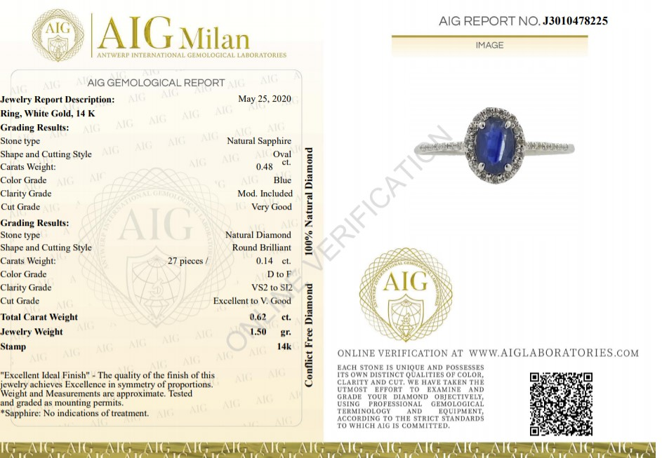 14 kt. White gold - Ring - 0.62 ct Sapphire - Diamonds - Image 2 of 7