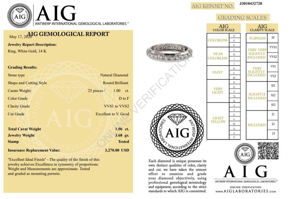 14 kt. White gold -Eternity Ring Diamond-1.00CTW - Image 2 of 4