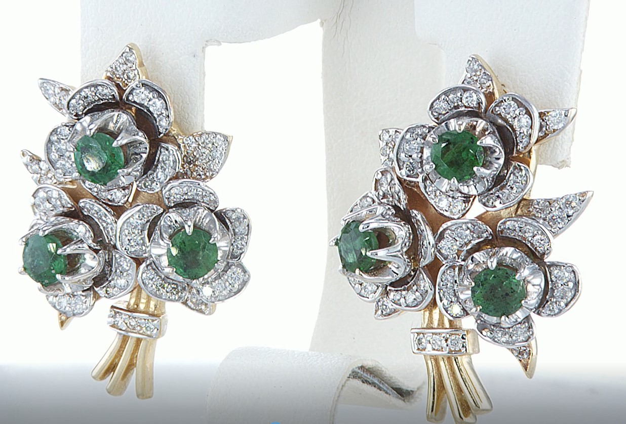 14 kt. Yellow gold - Earrings - 3.10 ct Emerald - Diamonds - Image 4 of 5