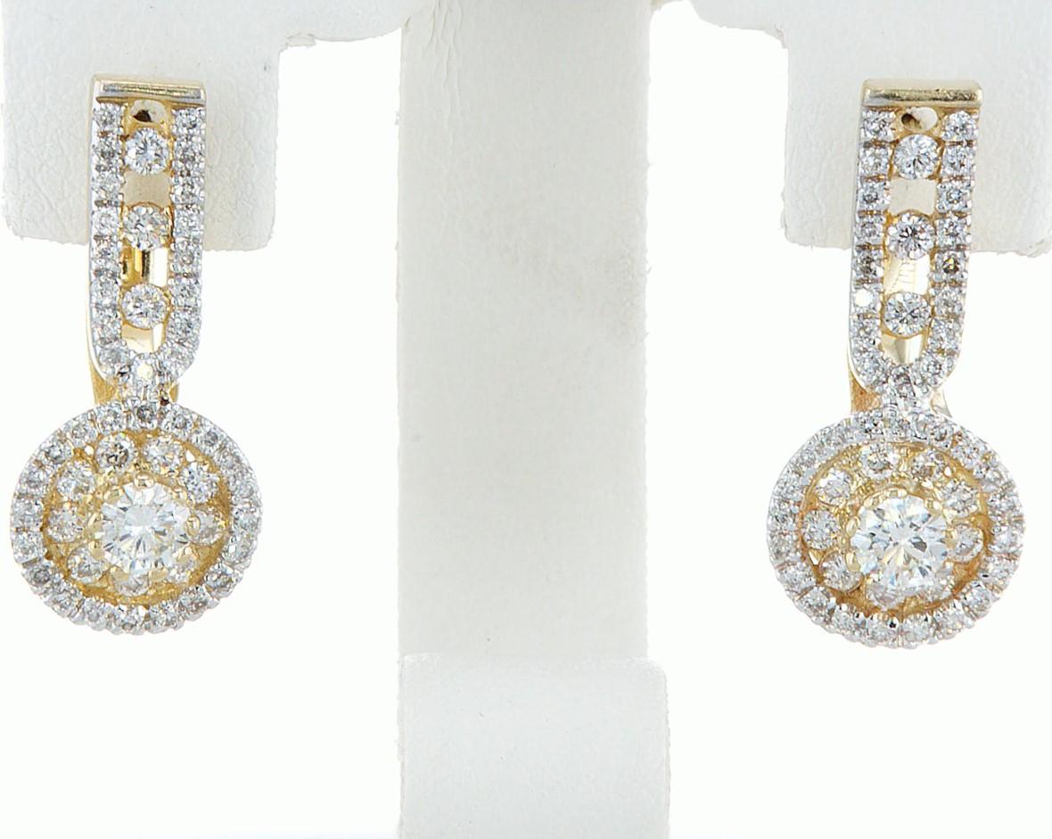 14 kt. White gold - Earrings - 1.46 ct Diamond - Diamonds - Image 3 of 6