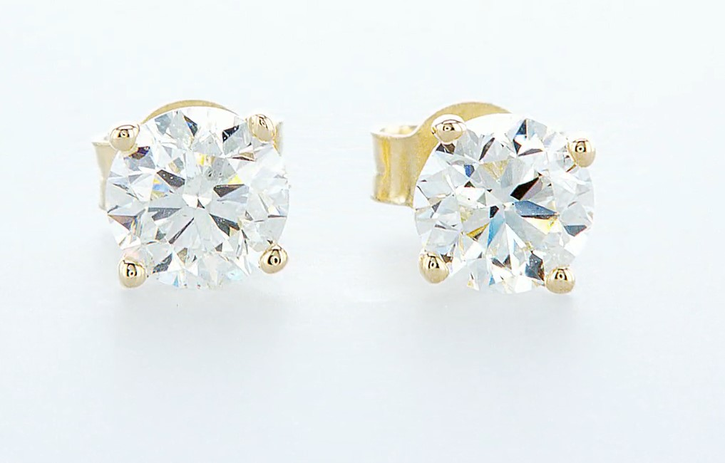 14 kt. Yellow gold - Earrings - 1.40 ct Diamond - Diamonds