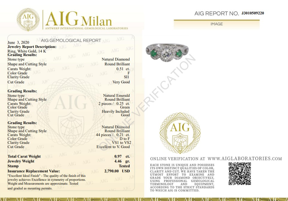14 kt. White gold - Ring - 0.97 ct Emerald - Diamonds - Image 3 of 7