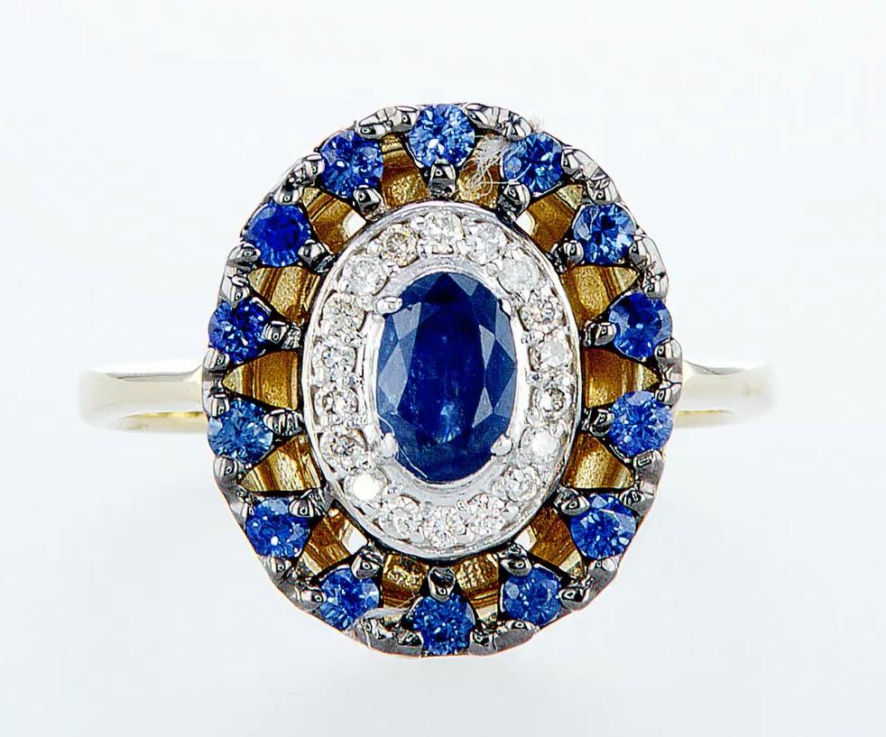 14 kt. White &Yellow gold - Ring - 1.25 ct Sapphire - Diamonds