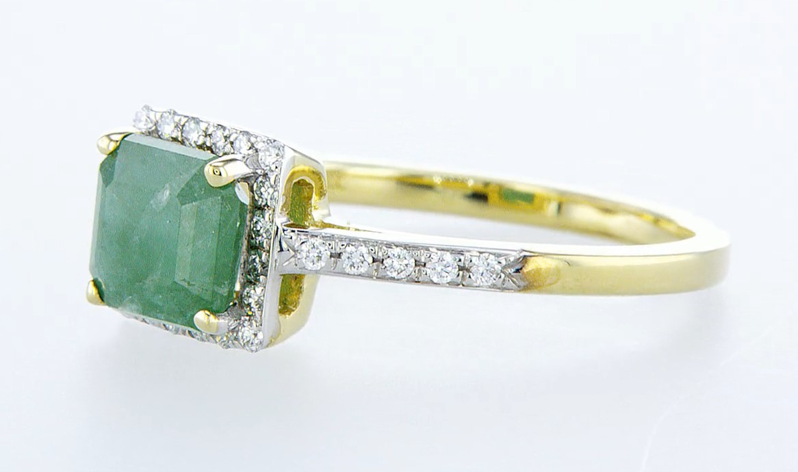 14 kt. White gold - Ring - 1.44 ct Emerald - Diamonds - Image 3 of 6