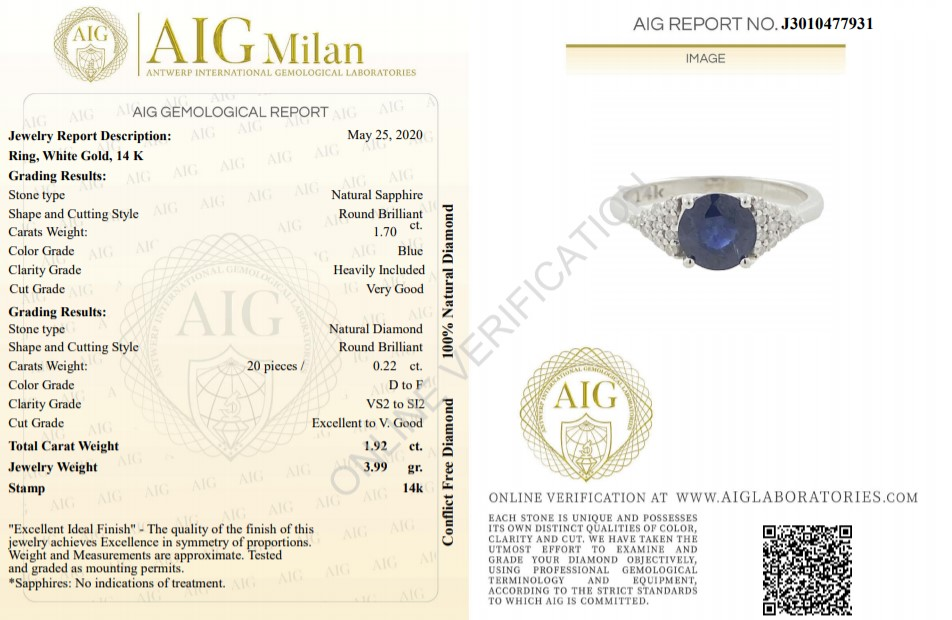 14 kt. White gold - Ring - 1.92 ct Sapphire - Diamonds - Image 2 of 6