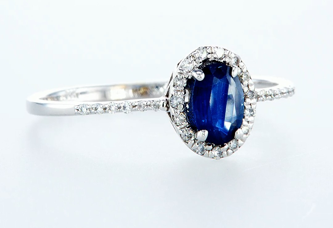 14 kt. White gold - Ring - 0.62 ct Sapphire - Diamonds - Image 7 of 7