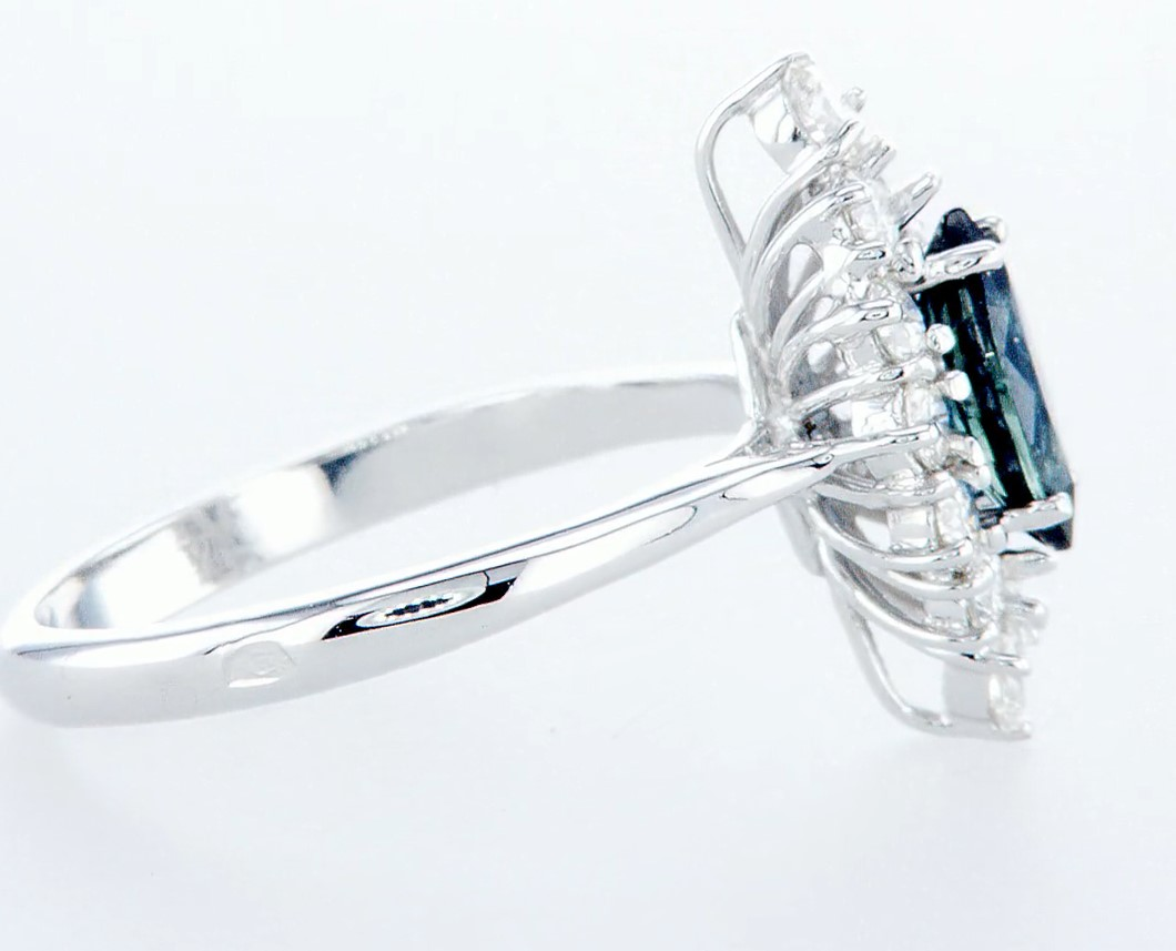 18 kt. White gold - Ring - 1.22 ct Sapphire - Diamonds - Image 6 of 7
