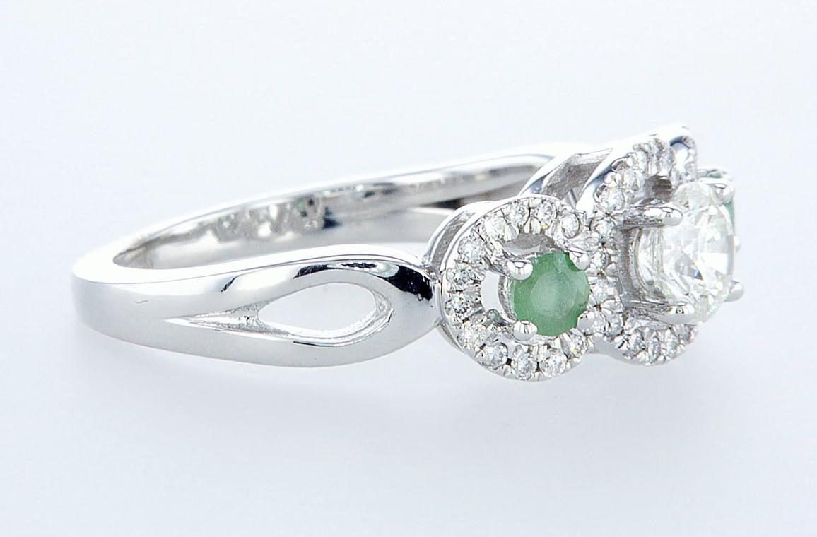 14 kt. White gold - Ring - 0.97 ct Emerald - Diamonds - Image 7 of 7