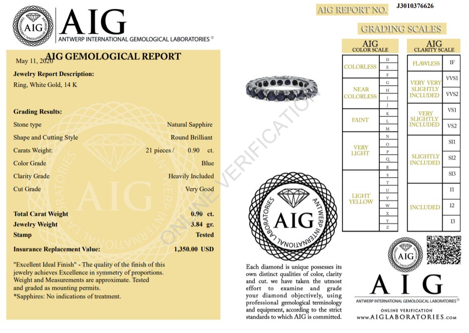 14 kt. White gold -Eternity Ring - 0.90 ct Sapphire - Image 2 of 4