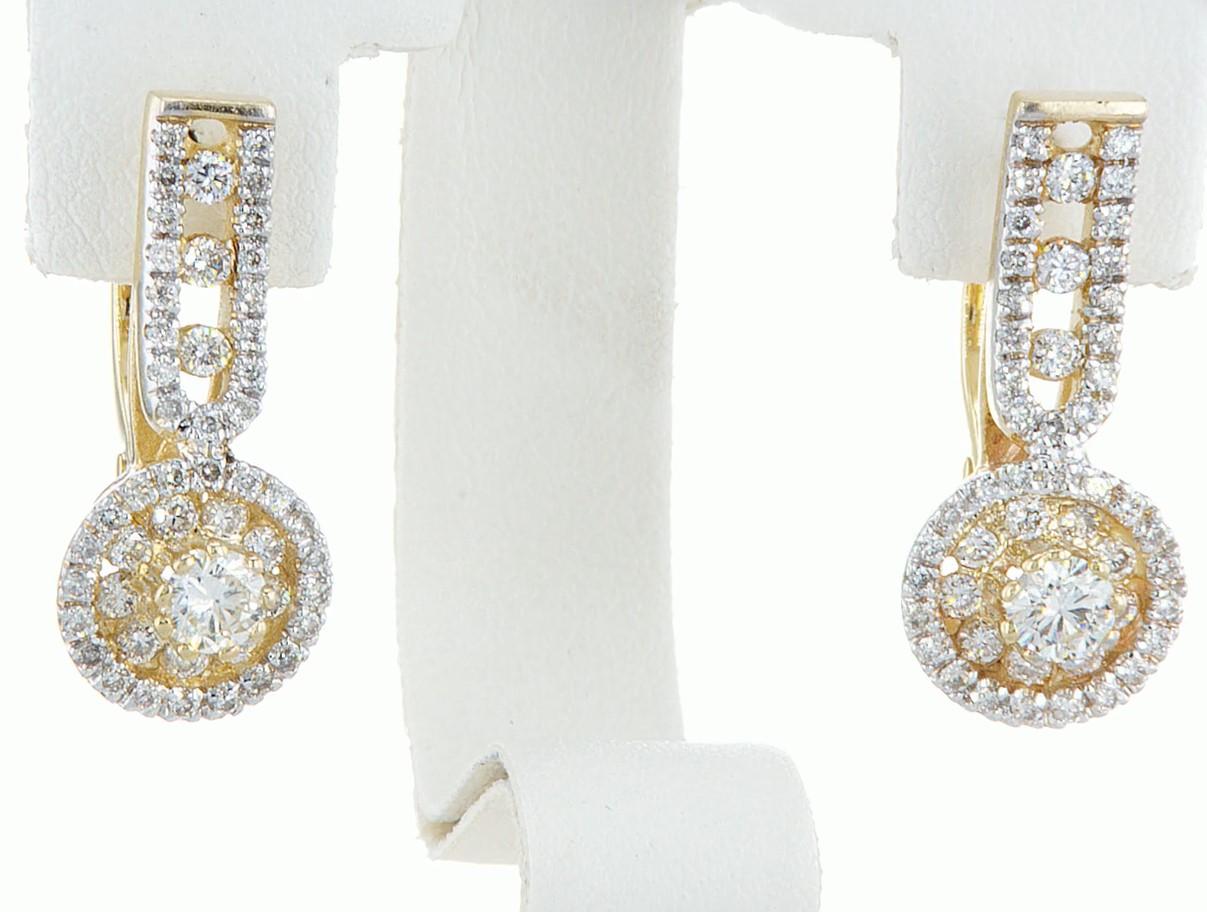 14 kt. White gold - Earrings - 1.46 ct Diamond - Diamonds