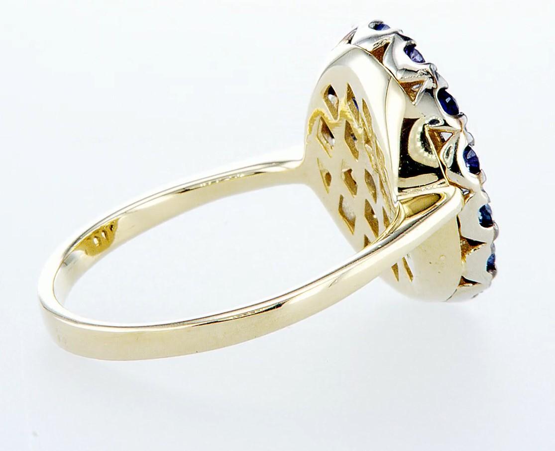 14 kt. White &Yellow gold - Ring - 1.25 ct Sapphire - Diamonds - Image 6 of 7