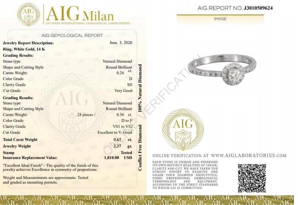14 kt. White gold - Ring - 0.26 ct Diamond - Diamonds - Image 3 of 6