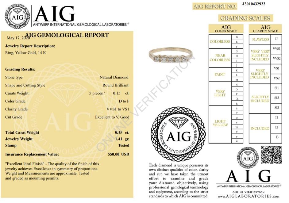 14 kt. Yellow gold - Ring Diamond-0.15CTW - Image 2 of 5