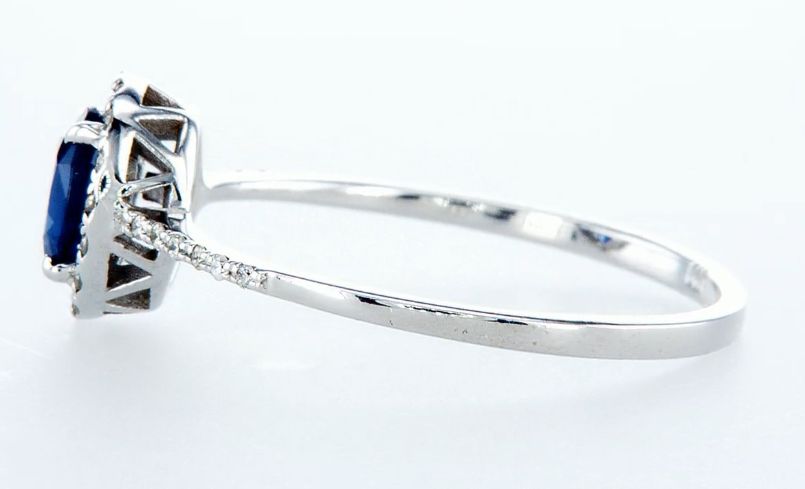 14 kt. White gold - Ring - 0.62 ct Sapphire - Diamonds - Image 4 of 7