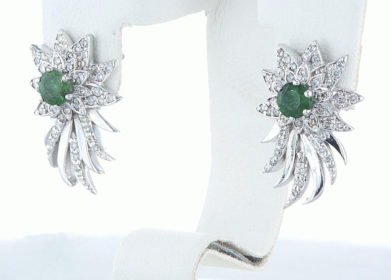 14 kt. White gold - Earrings - 1.00 ct Emerald - Diamonds - Image 5 of 6