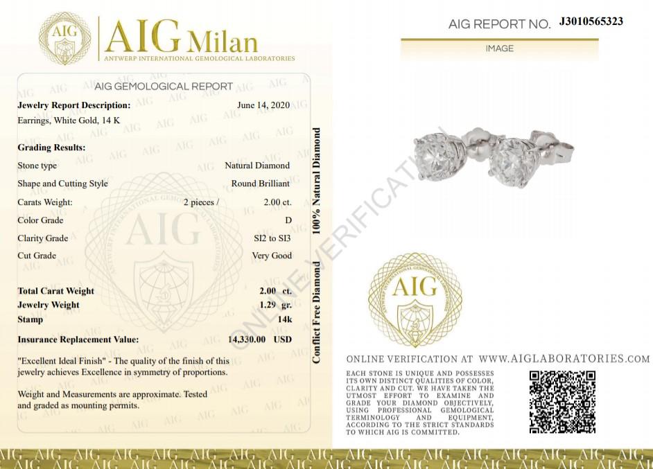 14 kt. White gold - Earrings - 2.00 ct Diamond - Diamonds - Image 3 of 6
