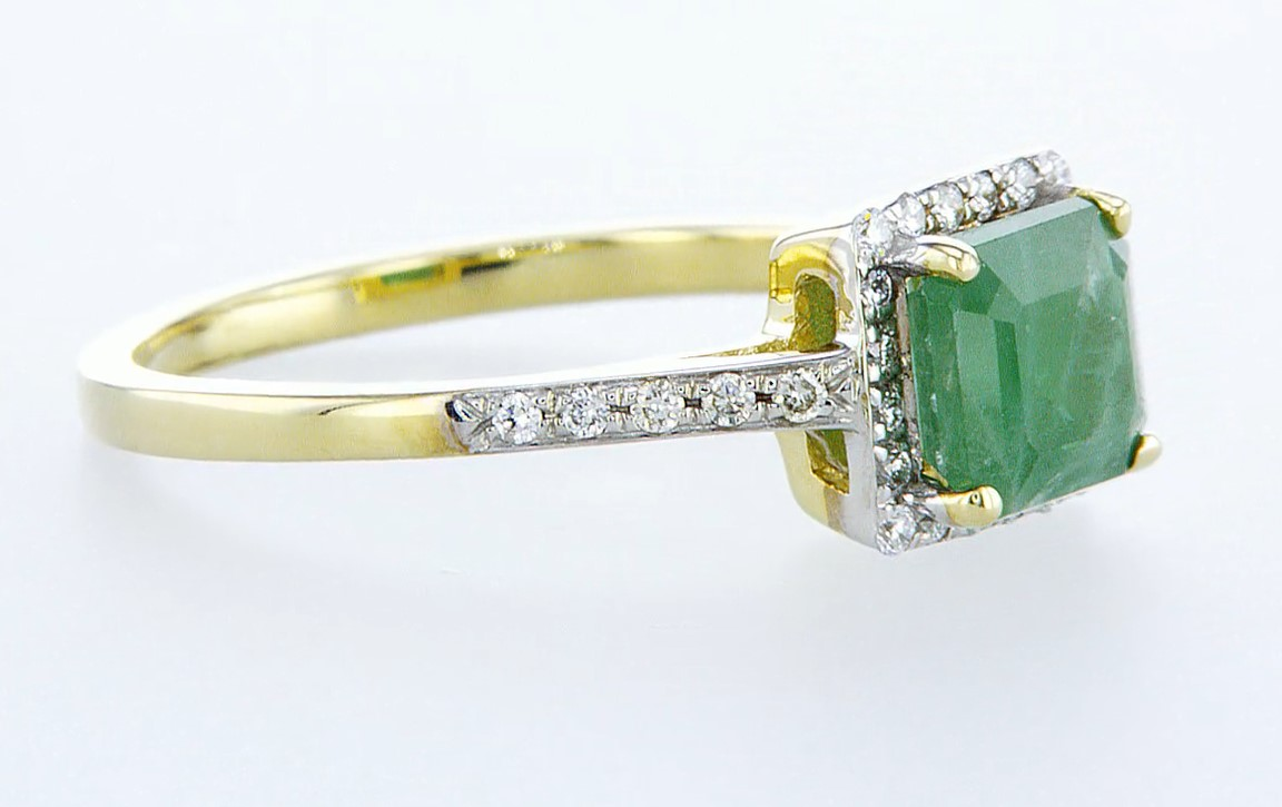 14 kt. White gold - Ring - 1.44 ct Emerald - Diamonds - Image 6 of 6
