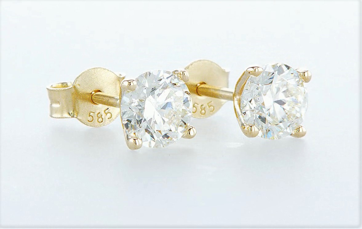 14 kt. Yellow gold - Earrings - 1.40 ct Diamond - Diamonds - Image 5 of 5