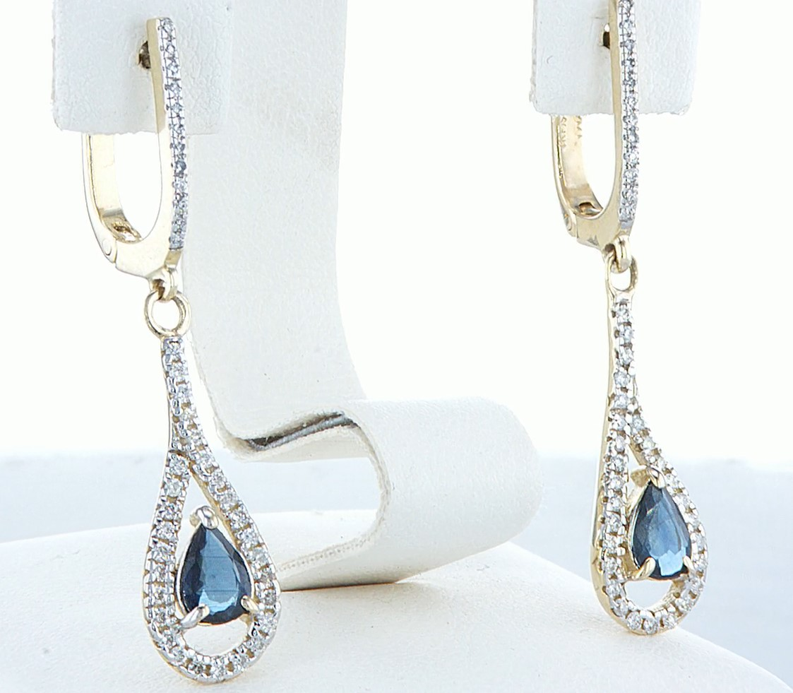 14 kt. White gold - Earrings - 1.20 ct Sapphire - Diamonds