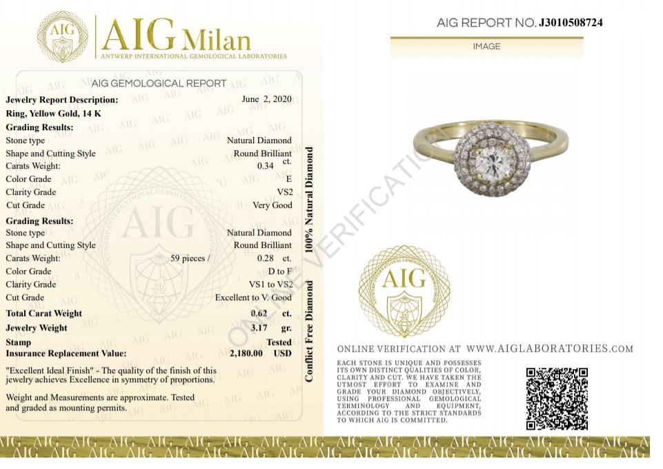 14 kt. Yellow gold - Ring - 0.62 ct Diamond - Diamonds - Image 2 of 6