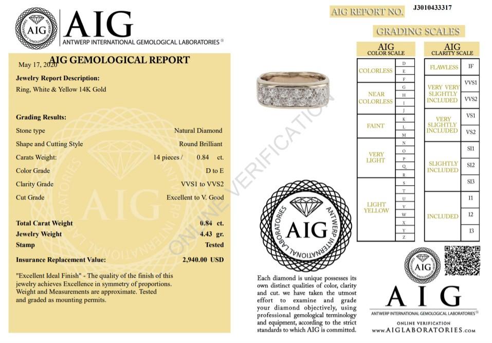 14 kt. White&Yellow gold - Ring Diamond-0.84CTW - Image 2 of 6