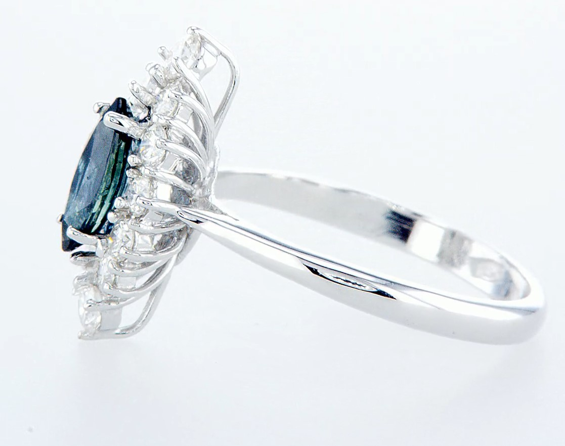 18 kt. White gold - Ring - 1.22 ct Sapphire - Diamonds - Image 4 of 7