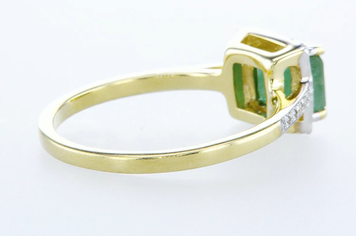 14 kt. White gold - Ring - 1.44 ct Emerald - Diamonds - Image 5 of 6