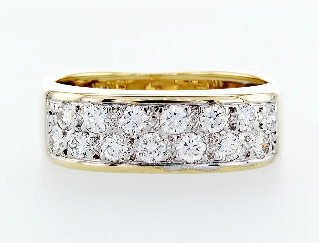 14 kt. White&Yellow gold - Ring Diamond-0.84CTW