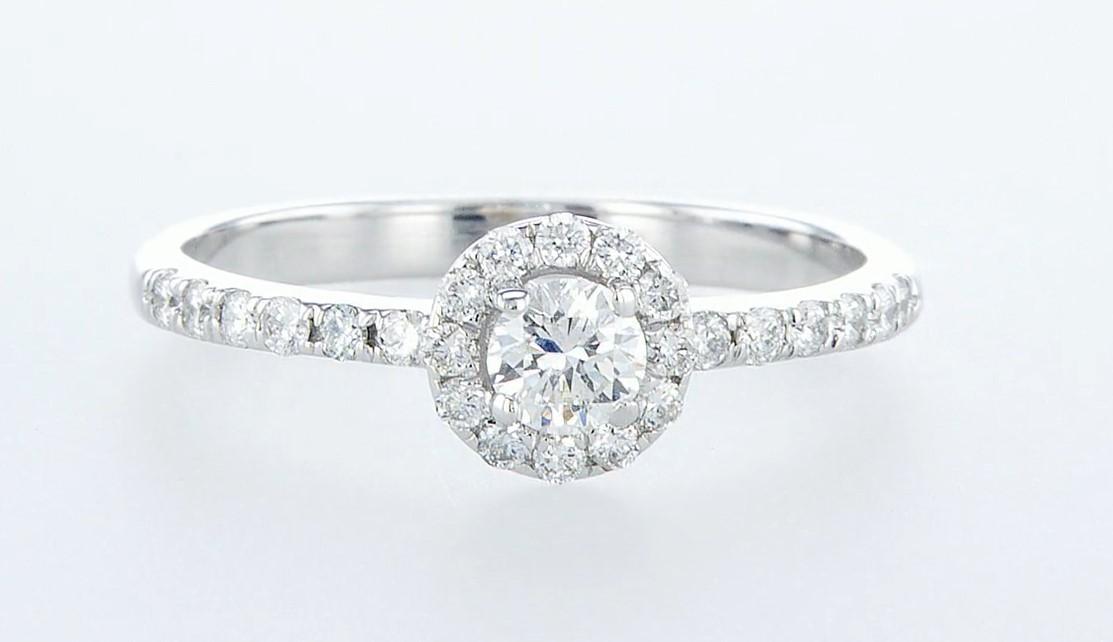 14 kt. White gold - Ring - 0.26 ct Diamond - Diamonds - Image 2 of 6